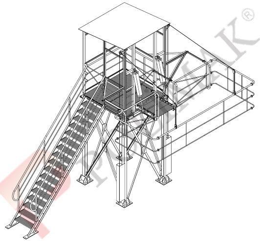 Bulk truck vehicle access platform for bulk solid loading by chute