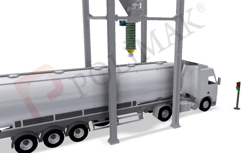 Bulk truck loading spout safety traffic signal accident preventation