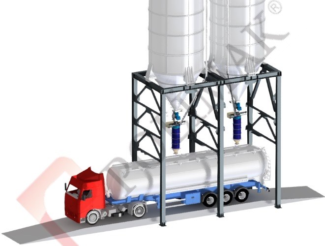 Truck weighing scales silo discharge bulk truck loading spouts
