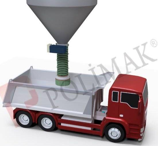 Open truck loading spout dustless telescopic loading of trucks
